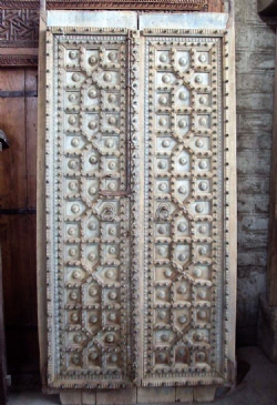 Teak Haveli Doors with Bronze & Iron Decoration from Shekawati, Rajasthan circa 1850 <b>sold<b>